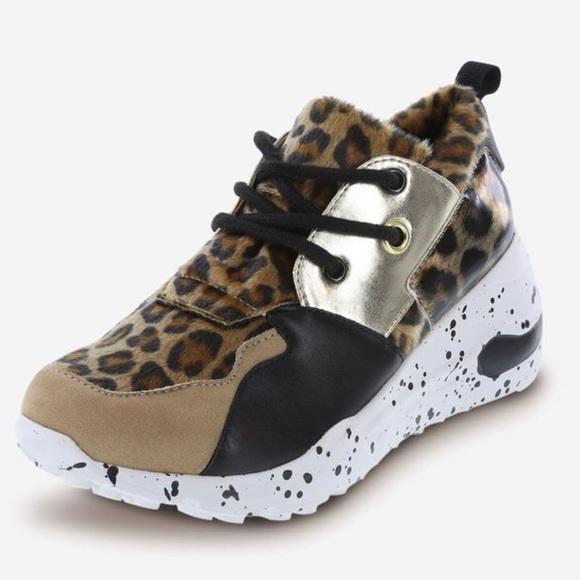 Womens Fashion Sneakers Leopard Faux